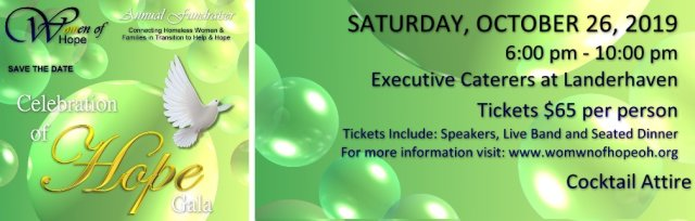 """Ticket Sales for Women of Hope """"Celebration of Hope"""" Annual Fundraising Gala"""