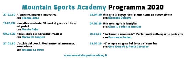 Mountain Sports Academy 2020 - Programma 8 incontri