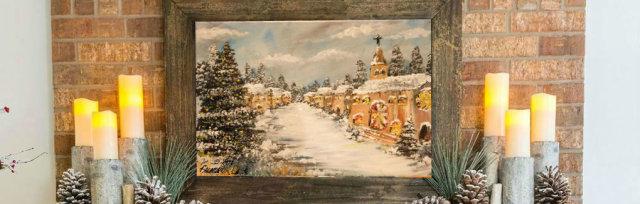 """Canvas Paint: """"Olde Christmas Village!"""""""