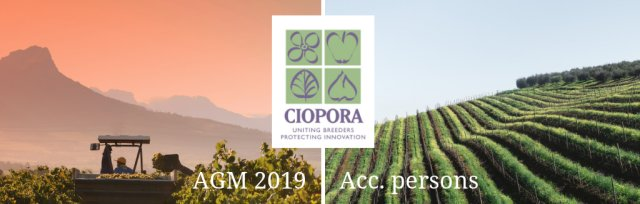 Accompanying persons: CIOPORA AGM 2019 in Stellenbosch, South Africa