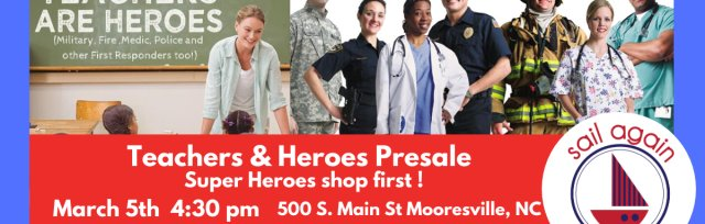 Sail Again's  Teachers & Heroes Presale Mooresville