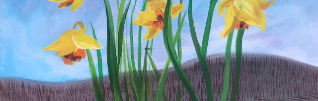Paint 'Daffodils' in the style of David Hockey - Brush Party - Online