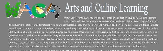 Arts Classes and Online Learning Time IN PERSON