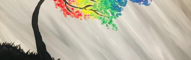 Paint & Sip!Rainbow Tree at 7pm $25 Upland