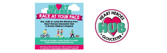 Run/walk/cycle the distance from Heart Heroes Gloucester hub to Bristol children's hospital.
