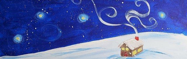 Winter Cabin Happy Paint Evening