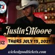 Justin Moore - Thurs. July 15, 2021 -$62 image