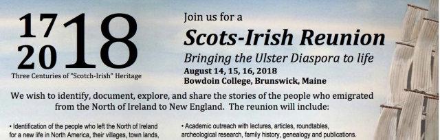 "Ulster Diaspora 2018 Reunion, Three Centuries of ""Scots-Irish Heritage August 14-18, 2018"