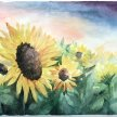 Watercolour Sunflowers  Brush Party - Online image
