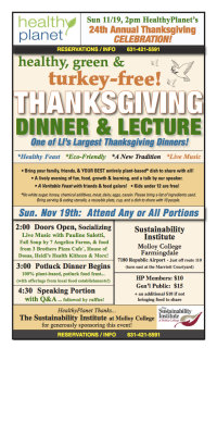 HealthyPlanet's 24th Annual  Healthy,  Green & Turkey-Free Thanksgiving Dinner/Lecture! image