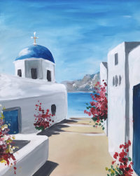 Somewhere in Santorini Brush Party - Online image