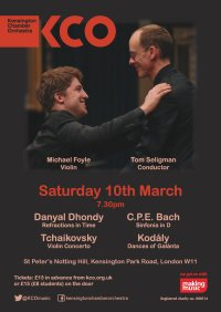 KCO March Concert - Dhondy, Tchaikovsky, C.P.E. Bach and Kodály image