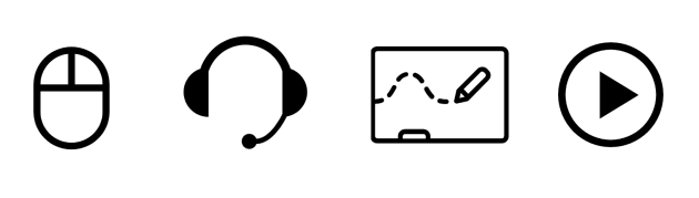 icons representing a mouse, headset, whiteboard, and play button