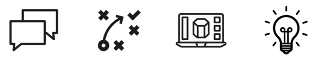 icons representing dialogue, strategy, laptop, and lightbulb